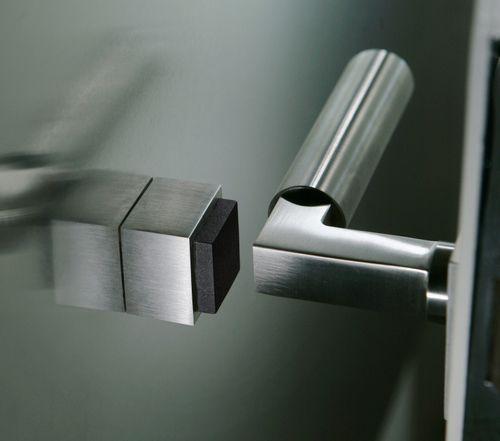 ODIN Edelstahl matt Türstopper KERBEROS quadratisch 2,5 cm Wandtürstopper TS601