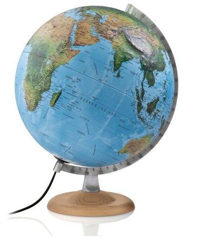 ATMOSPHERE Doppelbild Leuchtglobus Globus Weltkugel R4 silber 30 cm