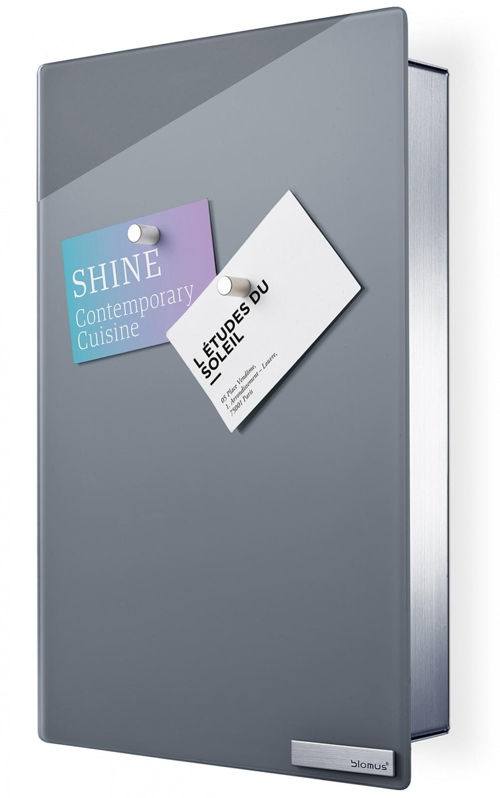 blomus edelstahl magnettafel schl sselkasten velio schl sselbrett inkl 6 magnete grau 65372. Black Bedroom Furniture Sets. Home Design Ideas