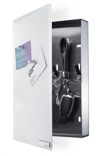 BLOMUS Edelstahl Magnettafel Schlüsselkasten VELIO Schlüsselbrett inkl. 6 Magnete weiss 65370 – Bild 1
