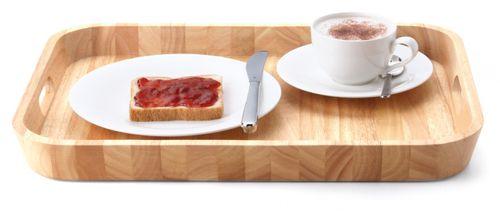 CONTINENTA Tablett Serviertablett rechteckig 46x33x4,5 cm Gummibaumholz 3280 – Bild 1