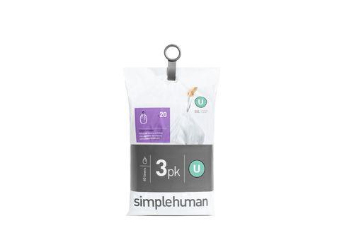 simplehuman Müllbeutel Nachfüllpack 60 Stück CODE U 55 Liter CW0265