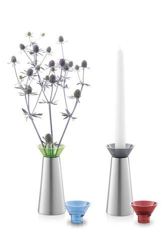 ZACK Edelstahl Vase Kerzenhalterung Kerzenständer Geschenk 40677-1 TARIS rot grau