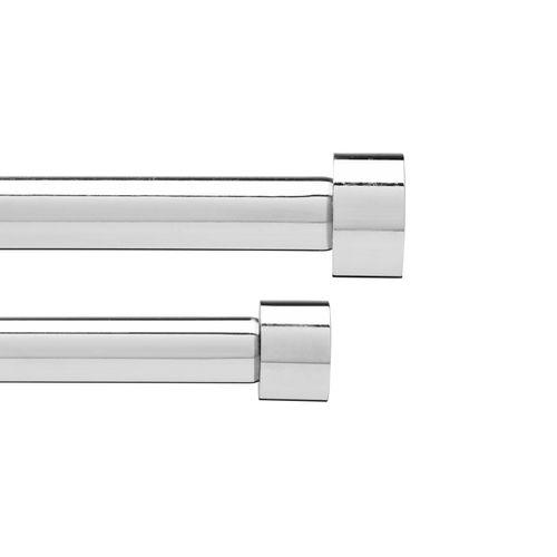 UMBRA Doppel Gardinenstange CAPPA Vorhangschiene Doppelstange Metall chrom 91 - 182 cm 245963-158 – Bild 1