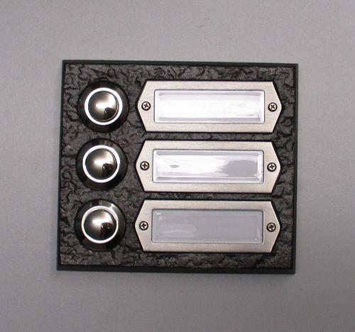Messing Klingel Klingelplatte Klingeltaster brüniert 3-reihig