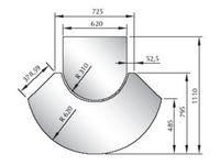 Glasfunkenschutzplatte ESG 6 mm Sonderform Nr. 1 kleine Frontplatte