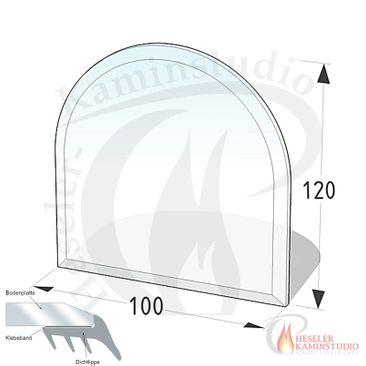 ESG Glasbodenplatte 6 mm Halbkreis 100x120 cm mit Facette