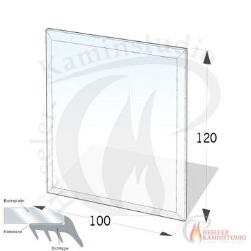 ESG Glasbodenplatte 8 mm Rechteck 100x120 cm mit Facette