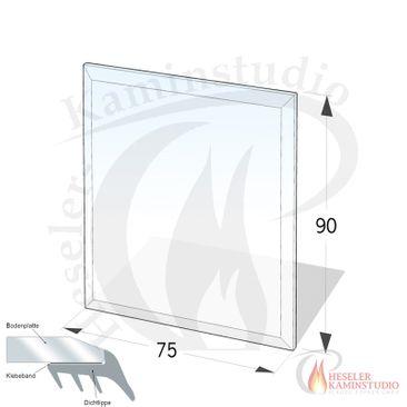 ESG Glasbodenplatte 8 mm Rechteck 90x75 cm mit Facette