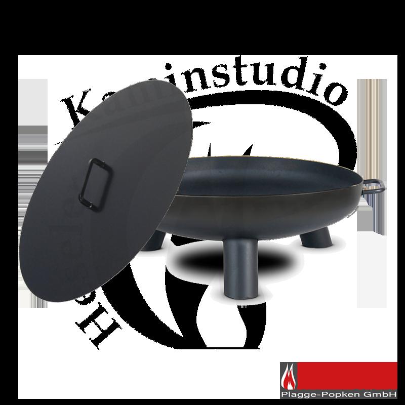 Feuerschale PAN 37 + Deckel aus 2mm hochwertigem Rohstahl S235 schwarz lackiert