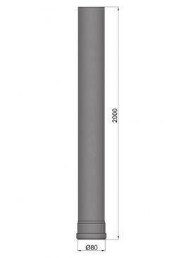 Pellet-Rohr Ø 80 mm // 2000 mm schwarz