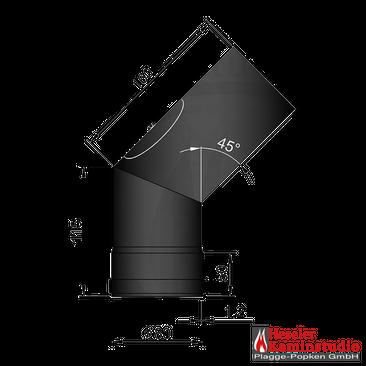 Pellet-Rohr Ø 80 mm // Bogen 1x45° mit Tür schwarz,19-242