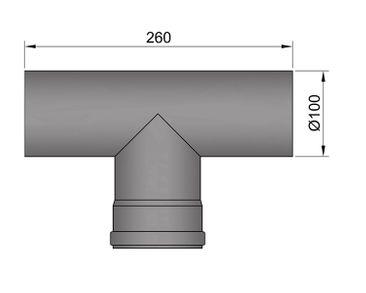 Pellet-Rohr Ø 100 mm // T-Sektion M/F ohne Tür schwarz