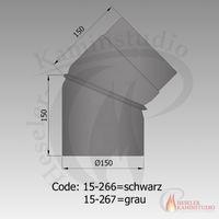 Rauchrohr-Bogen drehbar 0-45° Ø150 schwarz 15-266