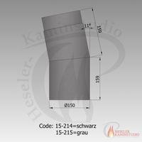 Rauchrohr-Bogen 11° kurz Ø150 grau 15-215 001