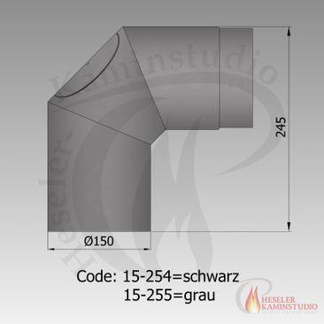 Rauchrohr-Bogen 2x45° m. Tür kurz Ø150 grau 15-255