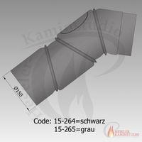 Rauchrohr-Bogen drehbar 4-teilig m. Tür Ø150 grau 15-265 001