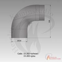 Rauchrohr-Bogen gezogen m. Tür 90° Ø150 grau 15-283 001