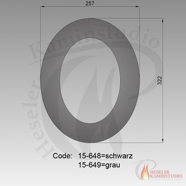 Rauchrohr-Rosette 45° (ovales Loch) Ø150 grau 15-649