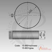 Rauchrohr-Rohrschelle m. Dichtung 50mm breit Ø150 grau 15-883 001