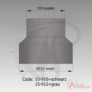Rauchrohr-Reduktion Ø150-120 grau 15-910