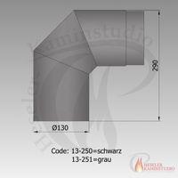 Rauchrohr-Bogen 2x45° kurz Ø130 schwarz 13-250 001