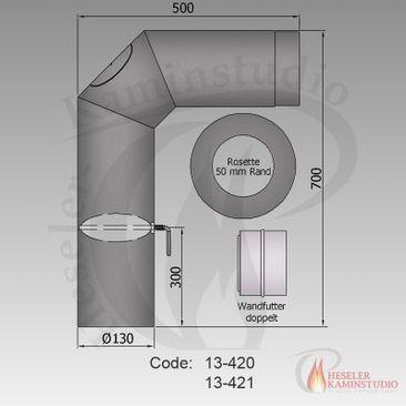 Rauchrohr-Set standard Ø130 grau 13-421