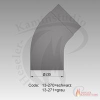 Rauchrohr-Bogen gezogen kurz 45° Ø130 grau 13-271 001