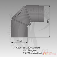 Rauchrohr-Bogen drehbar 0-90° mit Tür 3-Teilig ??-262