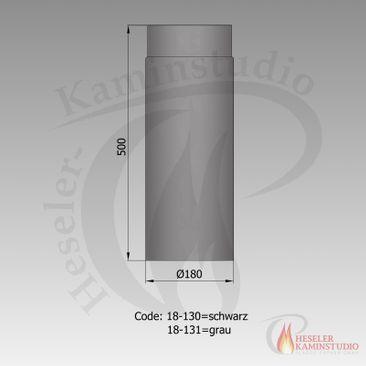 Rauchrohr-Verlängerung 500mm Ø180 schwarz 18-130