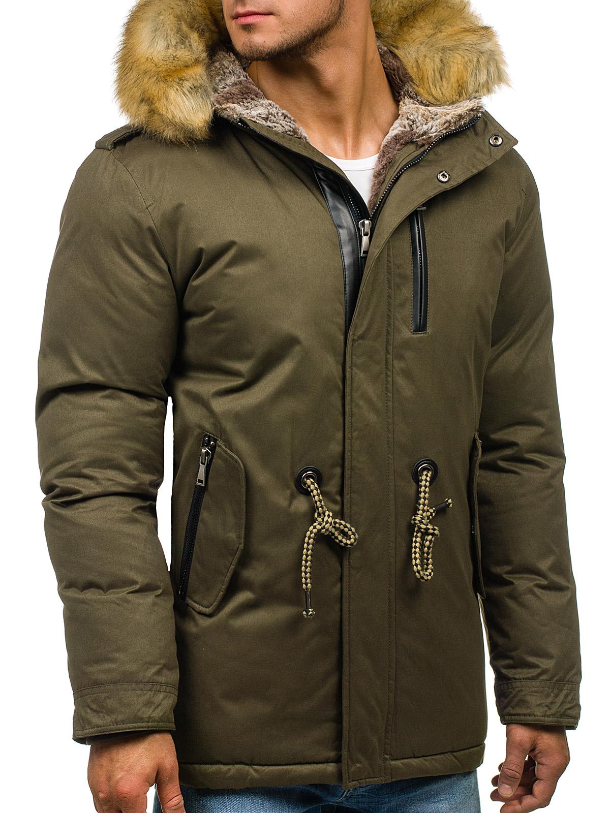 Details zu Winterjacke Parka Lang Futter Alaska Kapuze Mantel Herren BOLF 4D4 Motiv