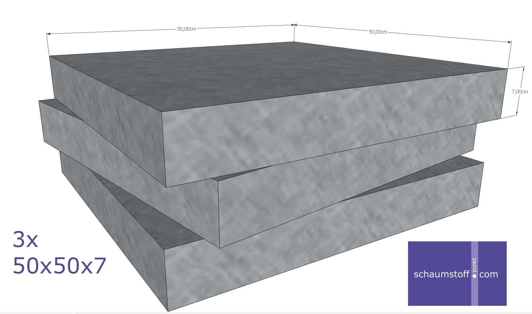 schaumstoff platten set 3x 50x50x7cm als posterauflage verpackung sitzkissen etc. Black Bedroom Furniture Sets. Home Design Ideas