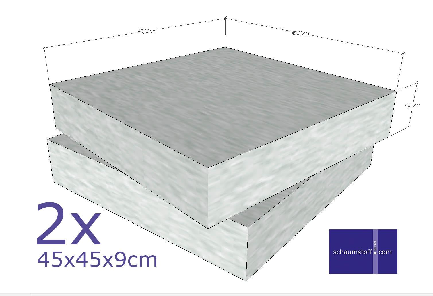 schaumstoff platten set 2 st ck a 45 x 45 x 9 cm sehr feste qualit t rg 40 sh 60. Black Bedroom Furniture Sets. Home Design Ideas