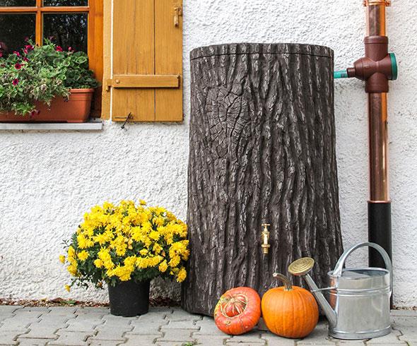 Regentonne Baumstamm Evergreen 475 liter braun