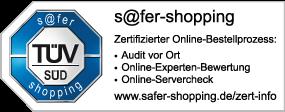 Regenwassertank.info TÜV s@fer-shopping Zertifikat