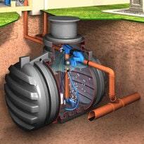 Regenwassertank mit den vier Komponenten für sauberes Regenwasser