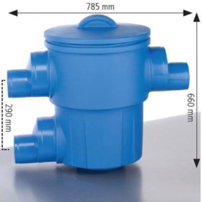 Regenwasserfilter Gartenfilter XL Abgang seitlich DN 150/DN 200 Abmessungen