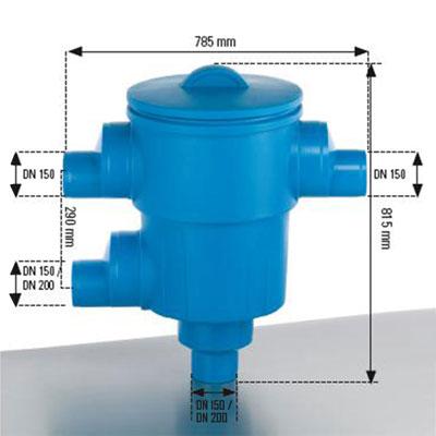 Regenwassernfilter Gartenfilter XL DN 150 Abmessungen