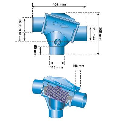 Regenwasserfilter Patronenfilter PF Abmessungen
