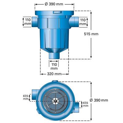 Regenwasserfilter Retentions- und Versickerungsfilter RVF Abmessungen