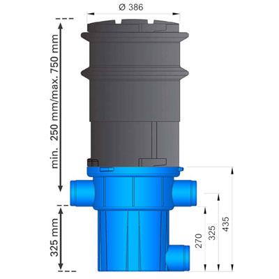 3P Retentions- und Versickerungsfilter RVF Abgang seitlich Abmessungen