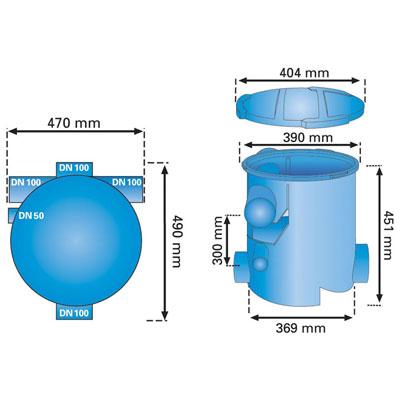 3P Volumenfilter VF1 Abmessungen