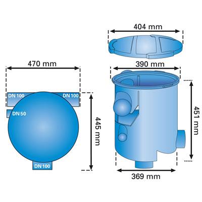 Regenwasserfilter Volumenfilter VF1 combi Abmessungen