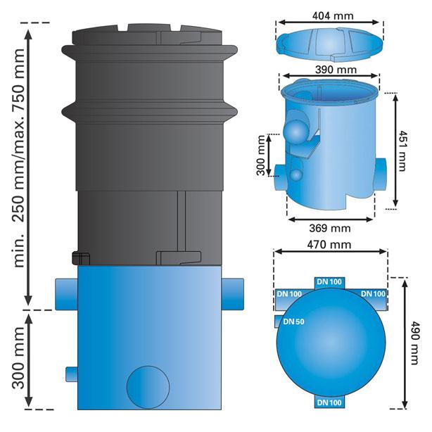 3P Volumenfilter VF1 mit Teleskopverlängerung Abmessungen