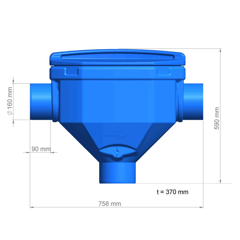 Regenwasserfilter Premium Skimmerfilter DN 150 Abmessungen