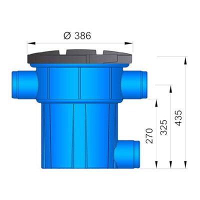 Regenwasserfilter Retentions- und Versickerungsfilter RVF Abgang seitlich Abmessungen