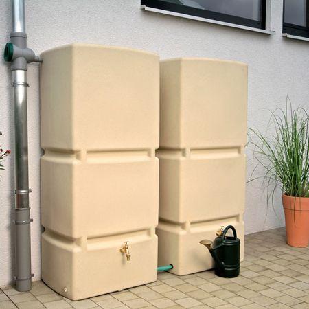 Regenwassertonne eckig Jumbo 800 liter sandstein – Bild 1