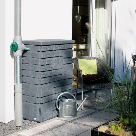 Regenwassertonne 300 liter eckig Maurano anthrazit – Bild 3