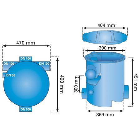 Regenwasserfilter extern Volumenfilter VF1 Höhenversatz 30 cm