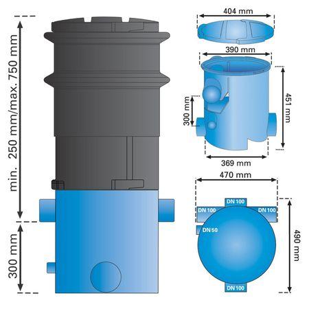 Regenwasserfilter extern Volumenfilter VF1 mit Teleskopverlängerung – Bild 2